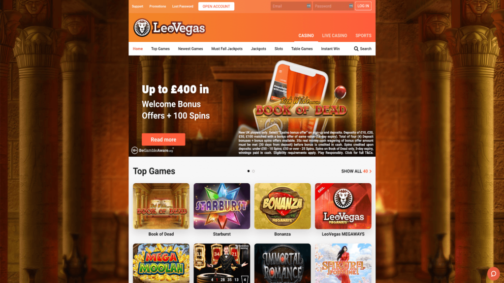 LeoVegas Casino Review - Homepage - Screenshot